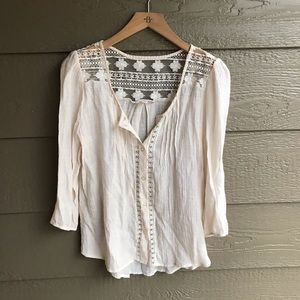 Anthropologie Mine Cream Lace Accent Blouse